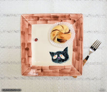 Load image into Gallery viewer, Another angle of  Handmade dinnerware.  Cat & Window Ladybug, variant 3