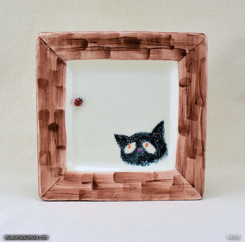 Handmade dinnerware.  Cat & Window Ladybug, variant 3