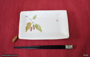 Another angle of  Handmade dinnerware with Sumi-e drawings of a Pair of Acorns