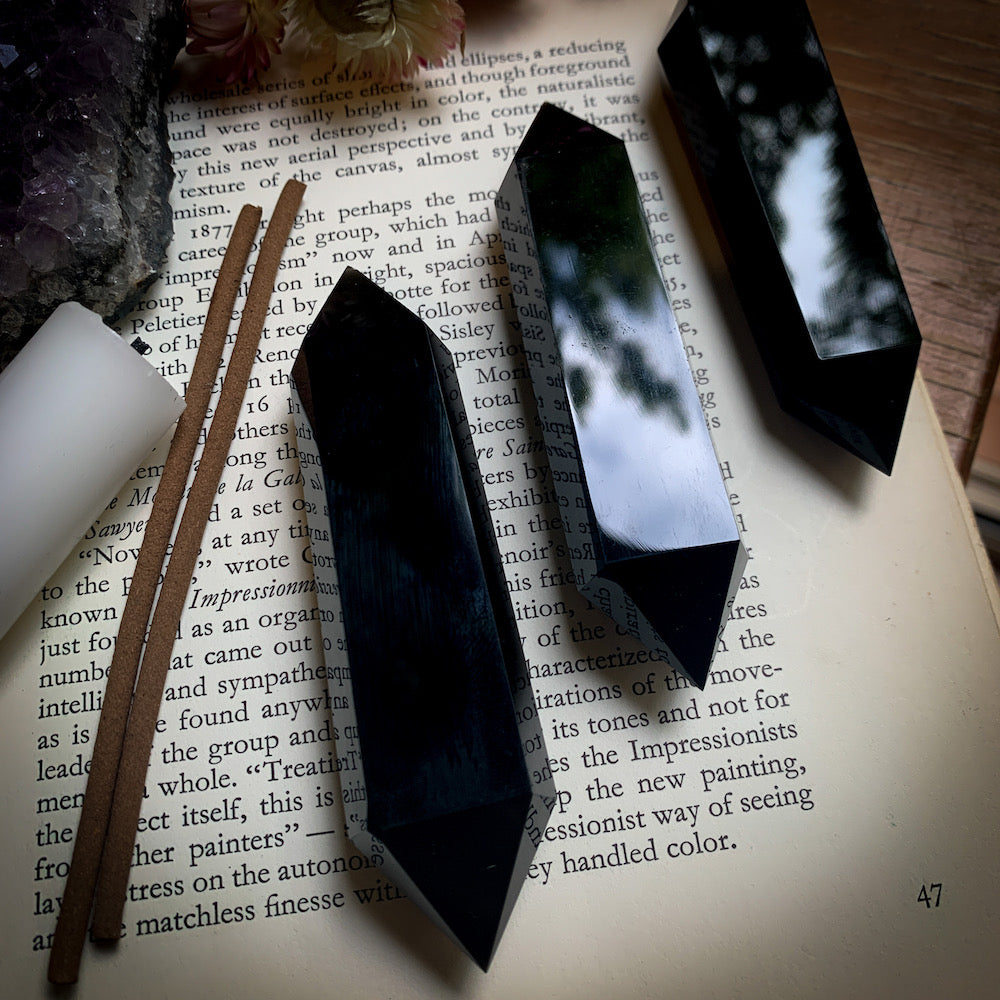 Black Obsidian Double Terminated Crystal Point Cinnabar Soul