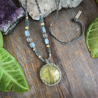 Handmade Prehnite Crystal healing necklace