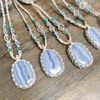 Blue Lace Agate Crystal Healing Pendant Necklace Cinnabar Soul