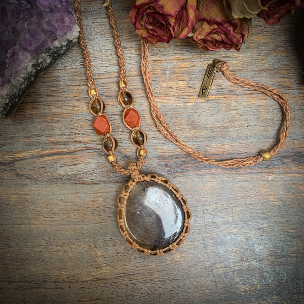 Crystal Healing Necklace Smokey Quartz and Red Jasper