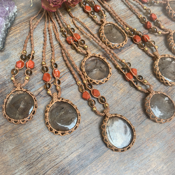 Crystal Healing Pendant Necklaces Smokey Quartz and Red Jasper