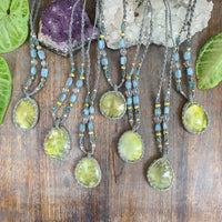 Handmade Prehnite crystal healing necklaces