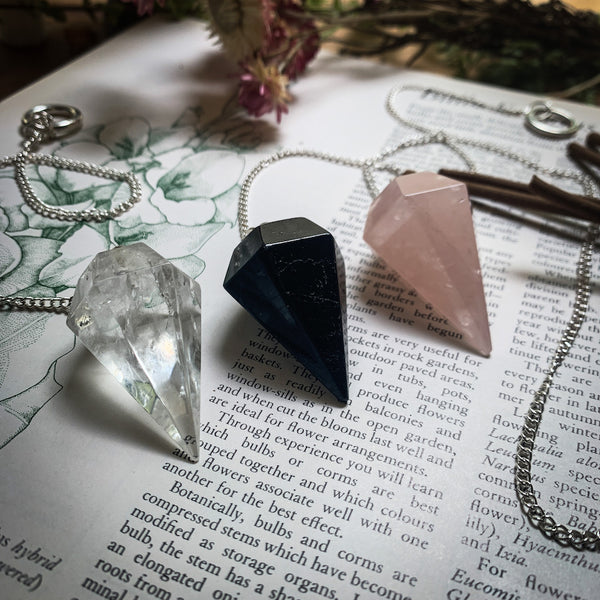 Crystal Pendulums Clear Quartz Black Obsidian Rose Quartz