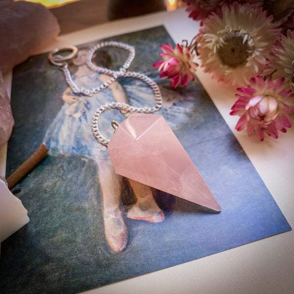 Rose Quartz Crystal Pendulum