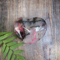 rhodonite crystal heart black pink and white