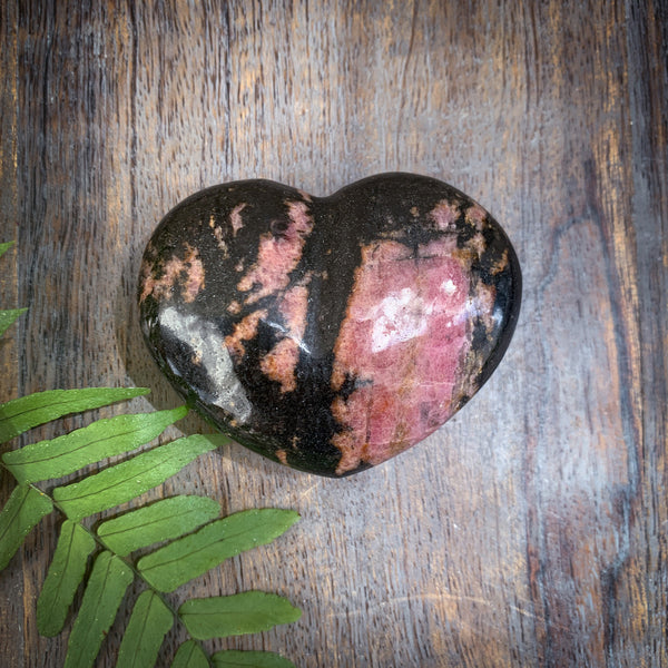 rhodonite crystal heart black and pink