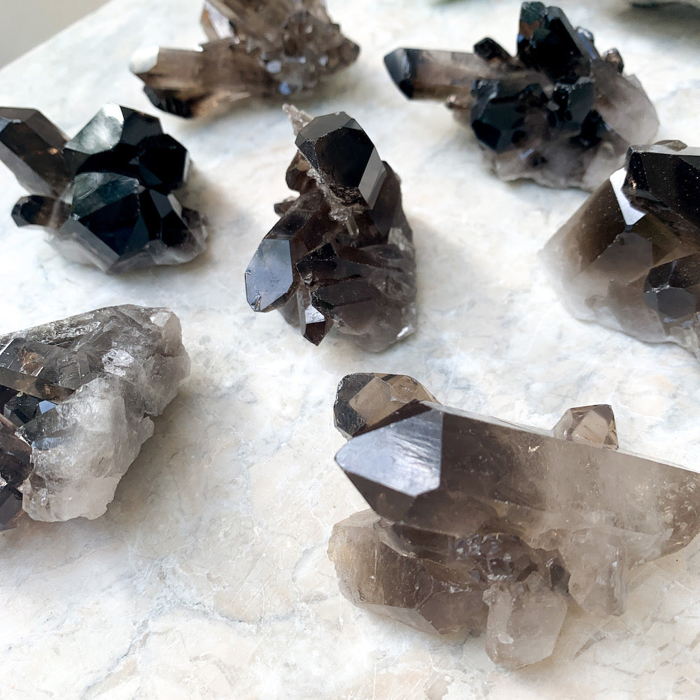Smokey Quartz crystal clusters