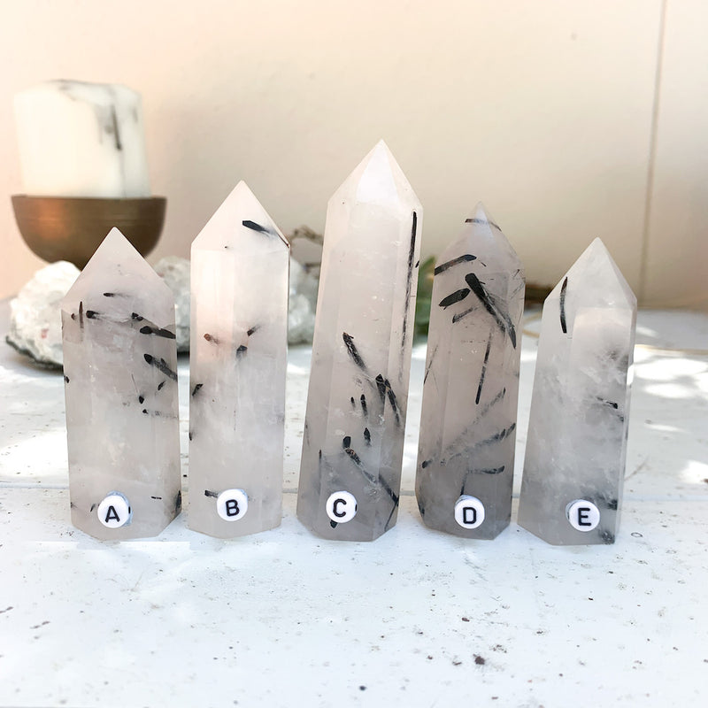 TOURMALINATED QUARTZ STANDING POINT