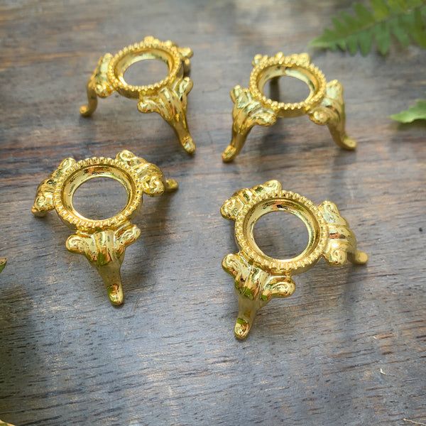 Four Golden Mini Crystal Orb Stands