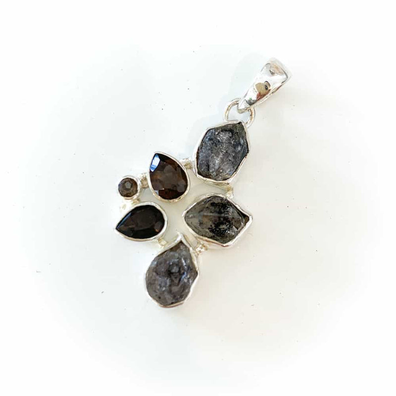 HERKIMER DIAMOND AND SMOKEY QUARTZ PENDANT