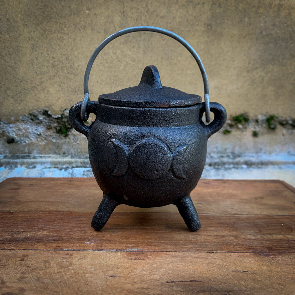 Mini Ritual Cauldron Moon Phase Black