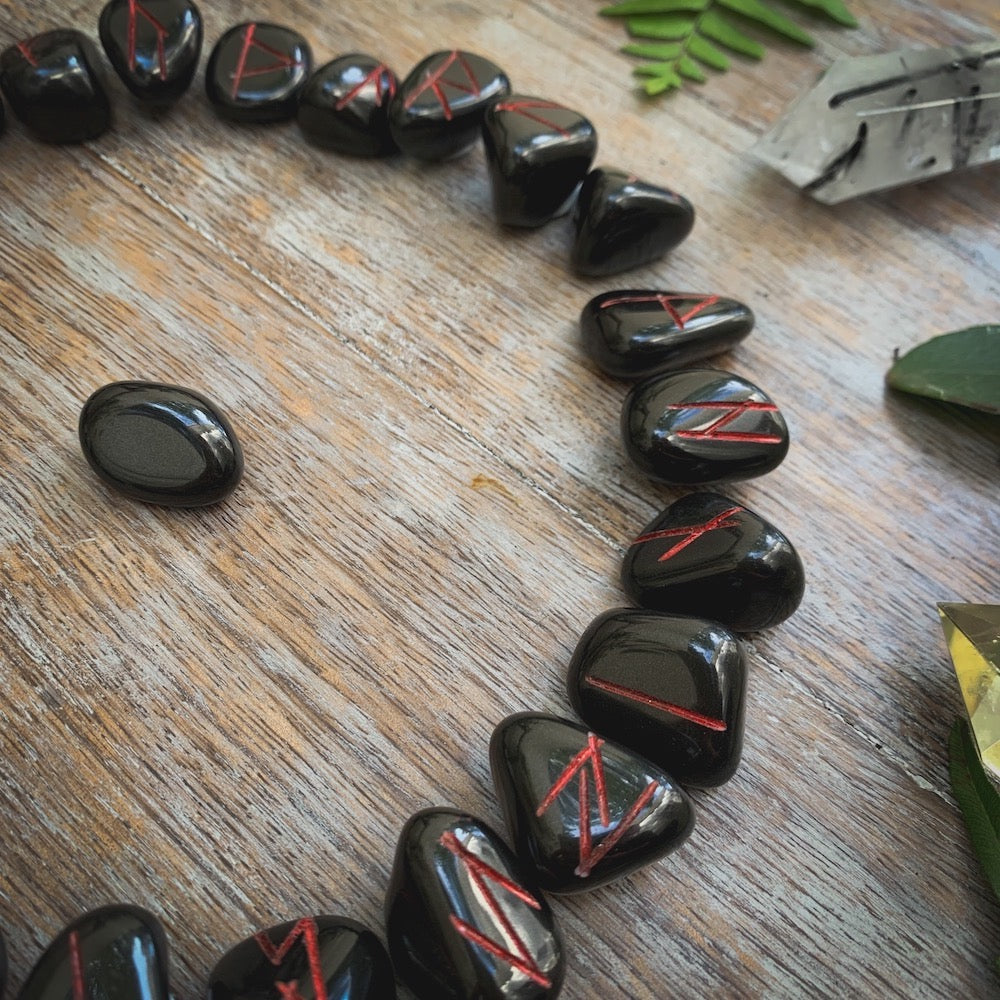 Onyx Runes Red Letters