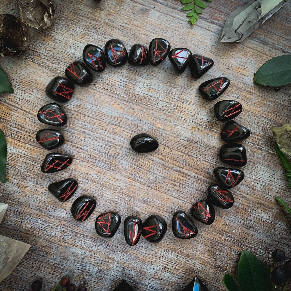 Onyx Runes Circle with Red Letters