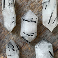 TOURMALINATED QUARTZ DOUBLE TERMINATED POINT