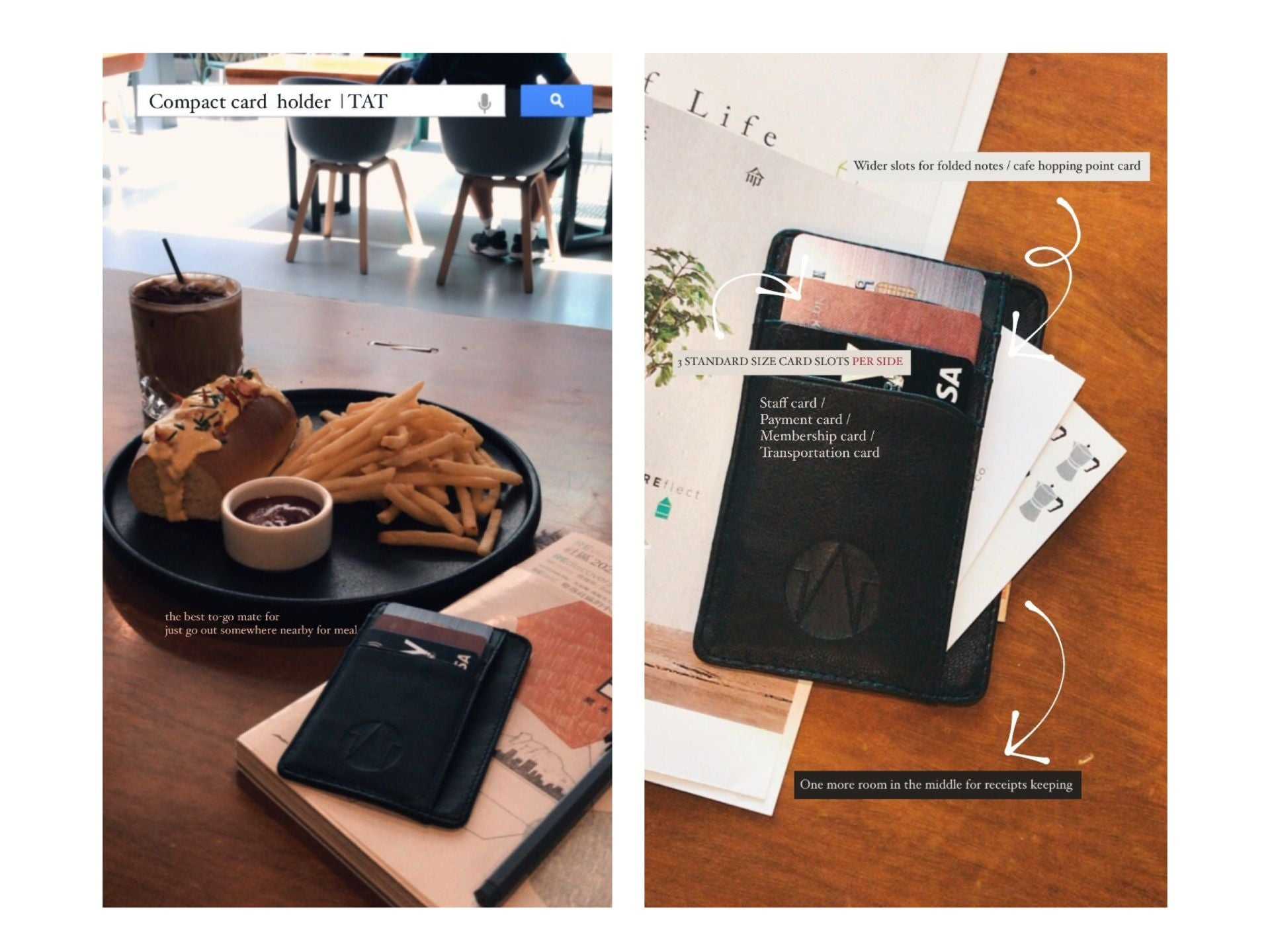 card holder in cafe with books and burger
