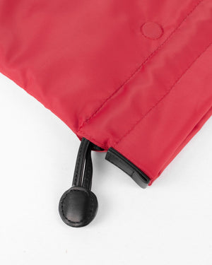 beans bag in red water repellent nylon and leather close up