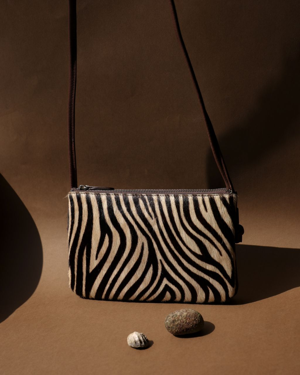 Zebra pattern Pony Hair leather crossbody bag in brown TL-14632H_front