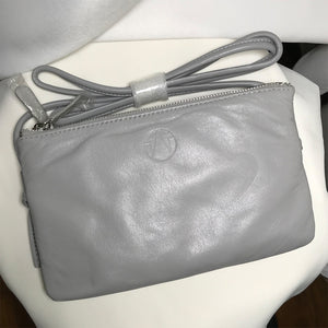 Light Grey Double Zip Lambskin Cross-Body |  imperfect item