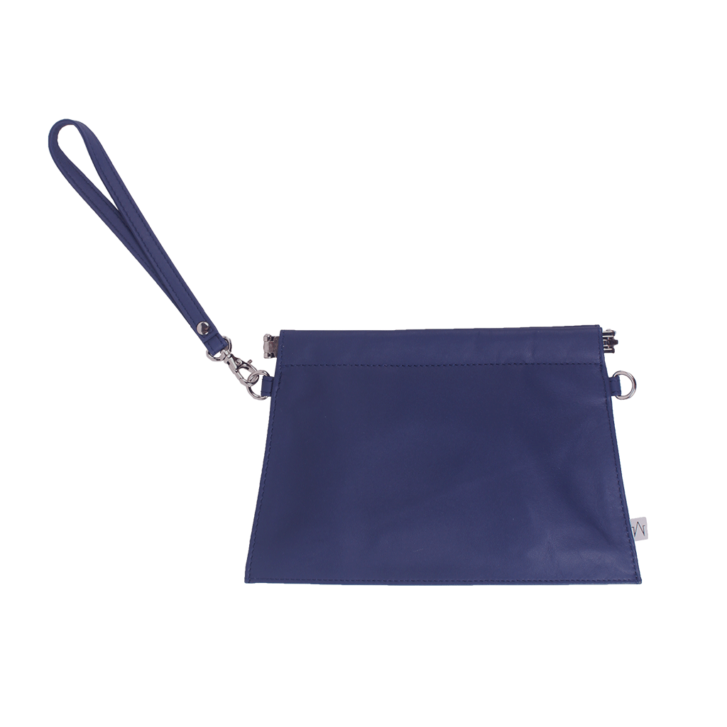 Trapezoid 2 Way Mini Clutch in Smooth Cow Leather | TAT