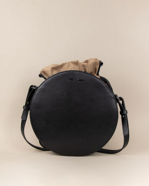 black circle cow leather crossbody with taupe nylon beans bag set