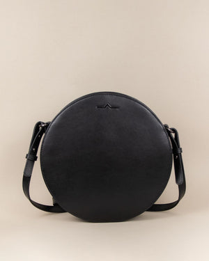 black circle cow leather crossbody main body