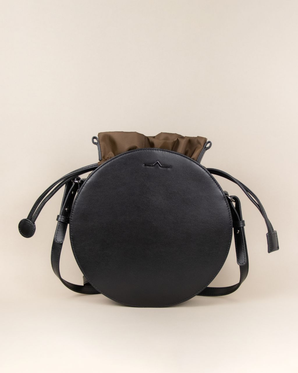 black circle cow leather crossbody with wood nylon beans bag set
