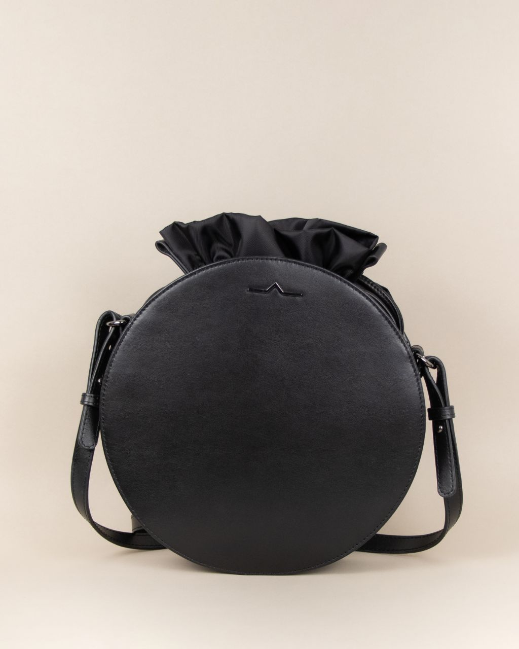 black circle cow leather crossbody with nylon small bag set front