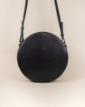 black circle cow leather crossbody bag