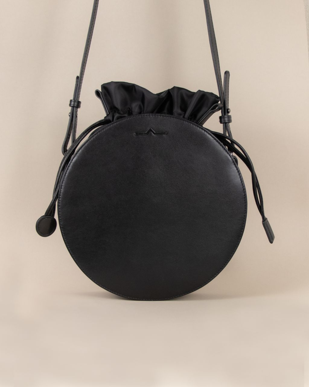 black circle cow leather crossbody with nylon small bag set