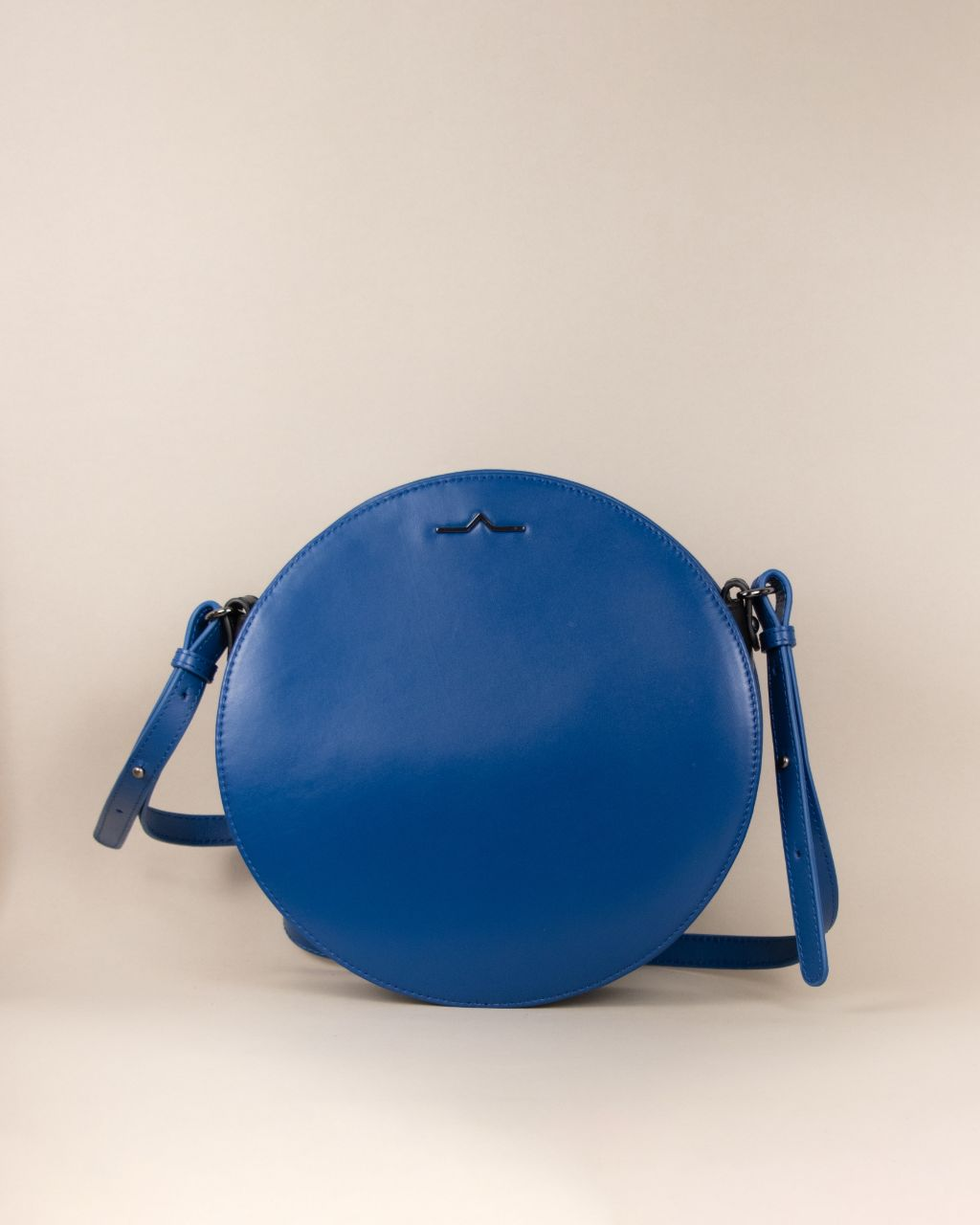Blue circle Napa leather shoulder crossbody front studio
