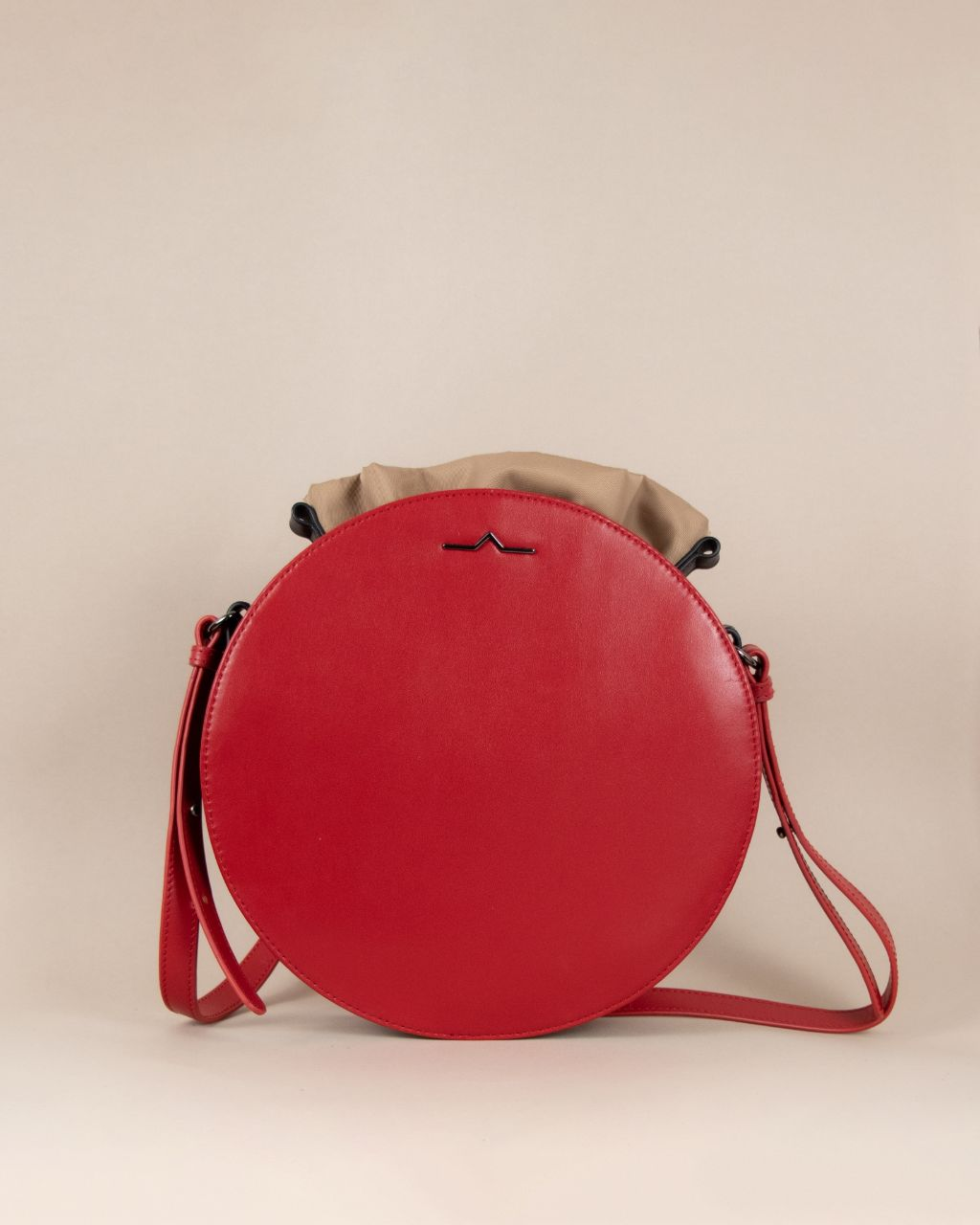 Red round cow leather crossbody with beige nylon beans bag set