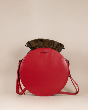 Red round cow leather crossbody with brown nylon beans bag set