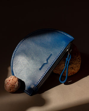 half moon mini leather pouch in electric blue  - Front
