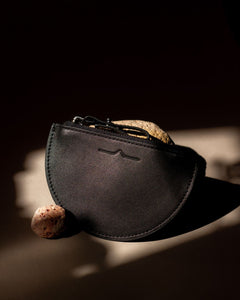 half moon mini leather pouch in black  - Front