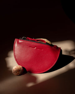 half moon mini leather pouch in tomato red  - Front