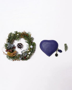Christmas ring, heart shape coins purse in royal blue