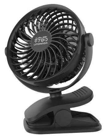 Funky Living - Limo-F1 Clip on Fan with USB charging Battery&Desk Fan, Adjustable Speeds, Rechargeable Battery Operated. Useful for Baby Strollers, office table, travel, car, outdoors, with sponge for essential oils or water