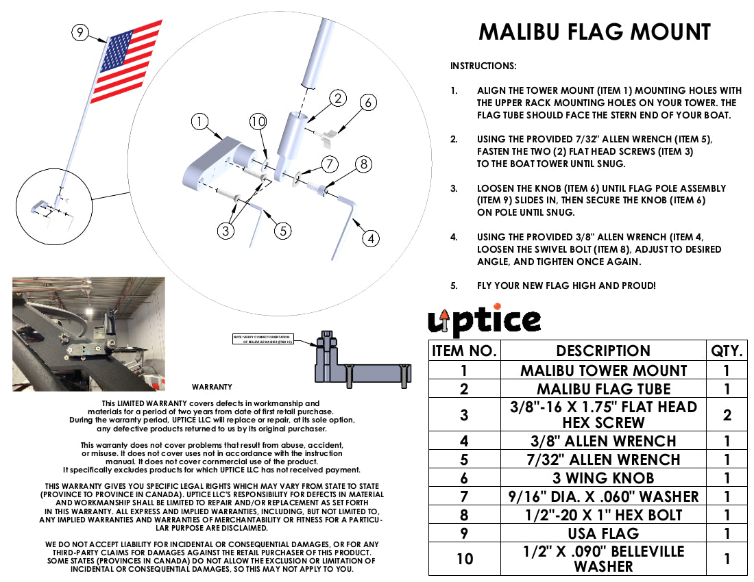 Malibu G3-4 Tower Flag Pole Mount Made In The USA