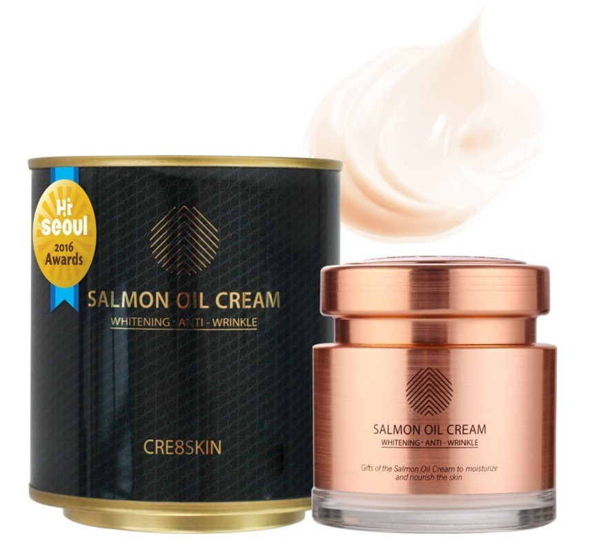 Cre8skin Salmon Oil Cream 80g 2.8Oz Skin Whitening Anti-Wrinkle Moisturizer