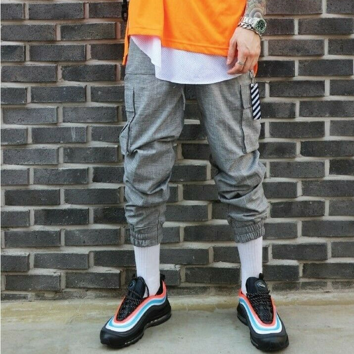 ✨ 10% Discount 💛 LAUL Mens Linen Cargo Jogger Pants Pocket Waist Banding Elasticity Military Gray, , LAUL, KOREASTAGRAM- KOREASTAGRAM  |  BEAUTY IS IN OUR DNA
