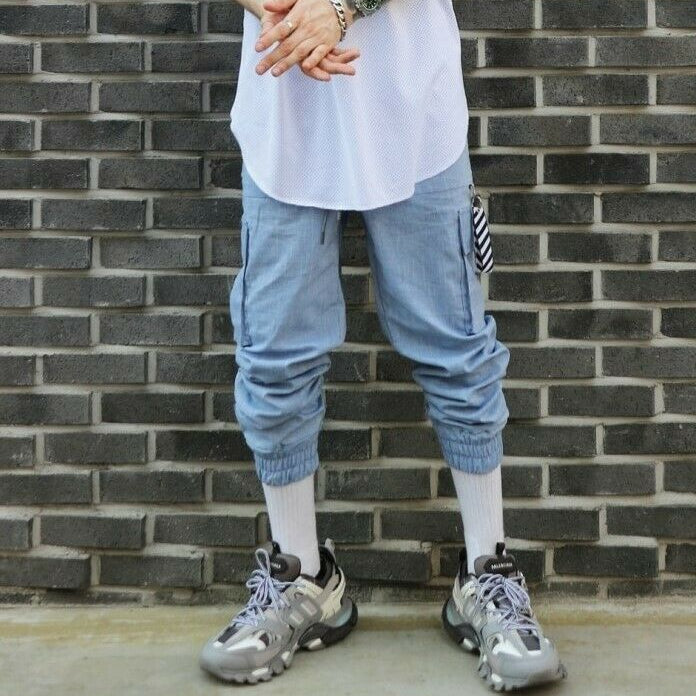 ✨ 10% Discount 💛 LAUL Mens Linen Cargo Jogger Pants Pocket Waist Banding Elasticity Military Blue, , LAUL, KOREASTAGRAM- KOREASTAGRAM  |  BEAUTY IS IN OUR DNA