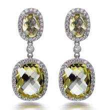 Load image into Gallery viewer, LEMON CITRINE CUSHION CUT EARRINGS