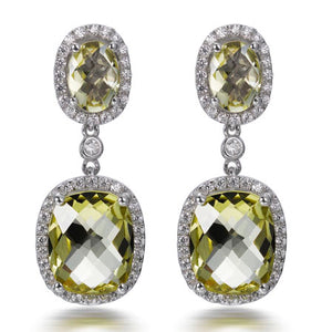 LEMON CITRINE CUSHION CUT EARRINGS