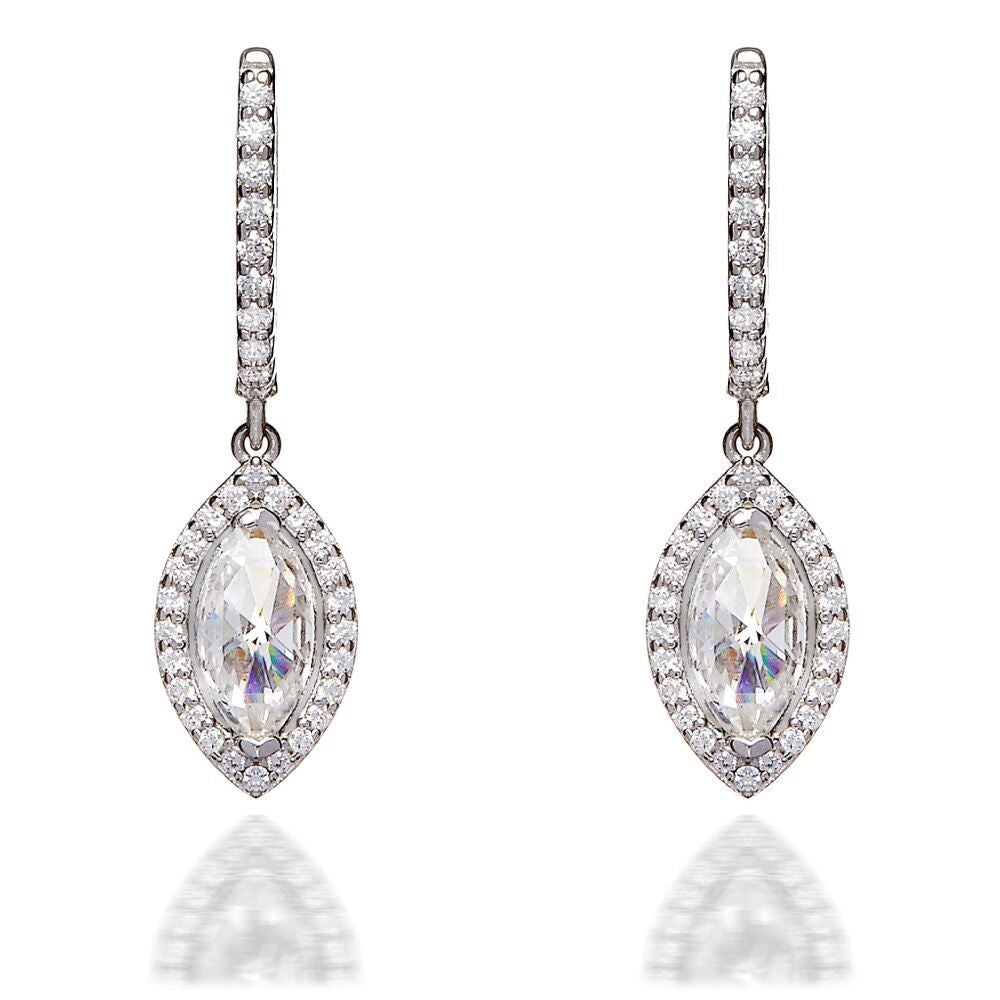 MARQUISE HALO DROP EARRINGS