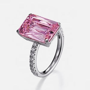 PINK SPINEL EMERALD CUT RING