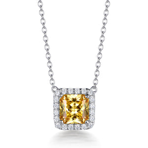 HONEY HALO ASSCHER CUT PENDANT
