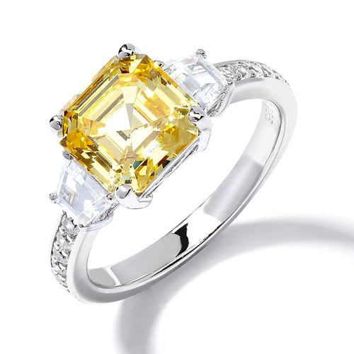 YELLOW ASSCHER CUT ENGAGEMENT RING